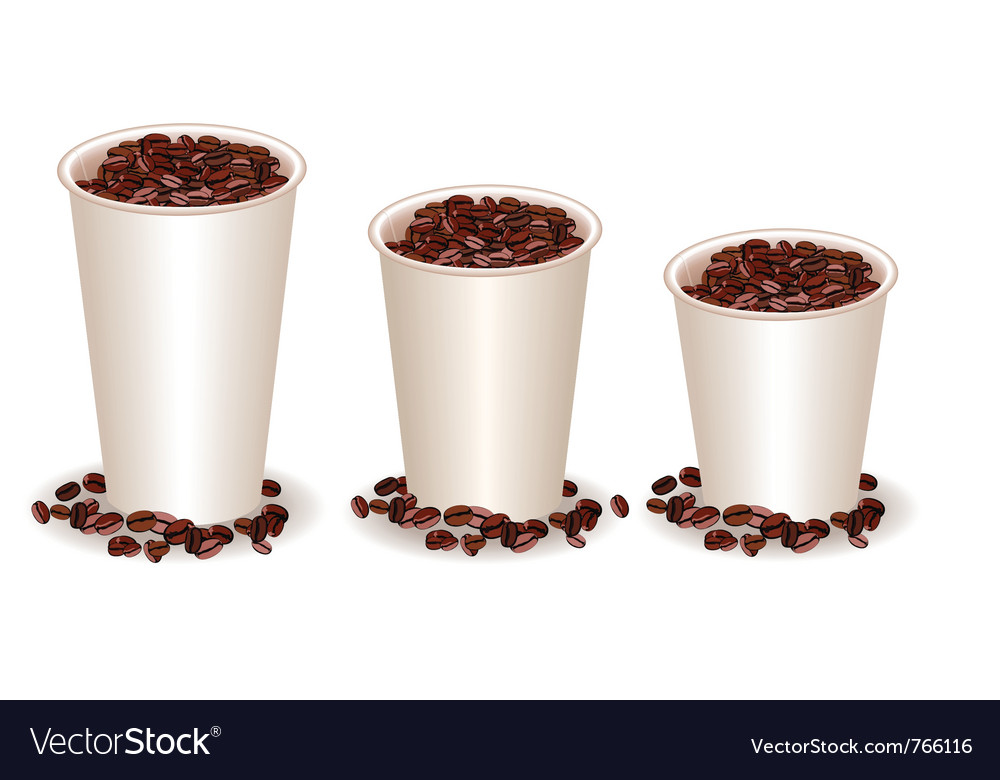 Three paper coffee cups filled with coffee beans vector | Price: 1 Credit (USD $1)
