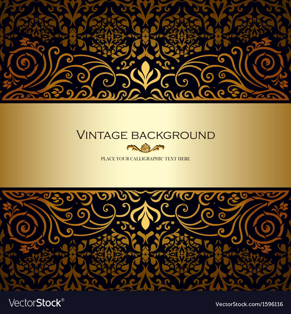 Vintage card royal gold vector   Price: 1 Credit (USD $1)