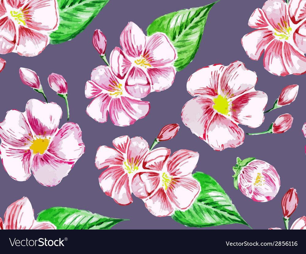 Watercolor flowers pattern vector | Price: 1 Credit (USD $1)
