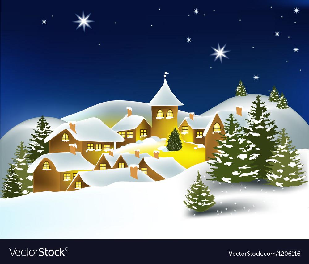 Winter town vector | Price: 1 Credit (USD $1)
