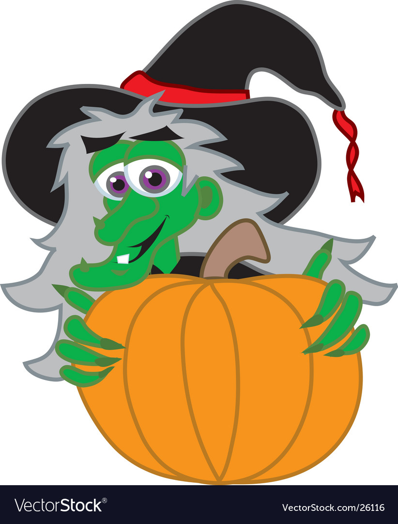 Witch behind jack-o-lantern vector | Price: 1 Credit (USD $1)