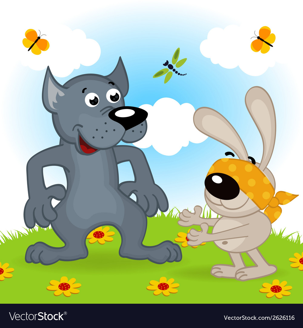 Wolf and hare playing hide and seek vector | Price: 3 Credit (USD $3)