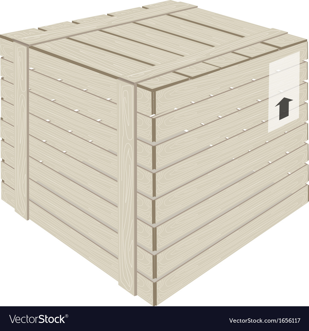 A wooden cargo box on white background vector | Price: 1 Credit (USD $1)
