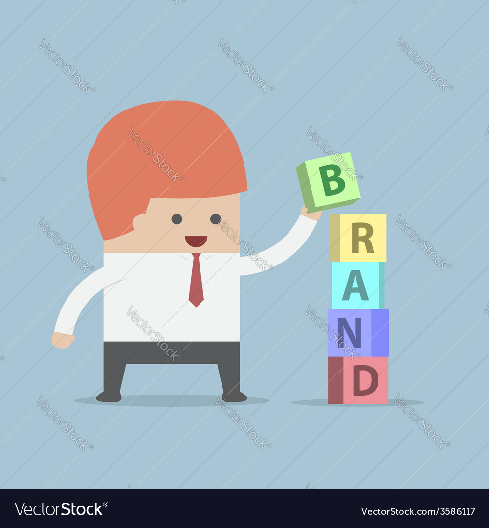 Businessman is building brand word brand building vector | Price: 1 Credit (USD $1)