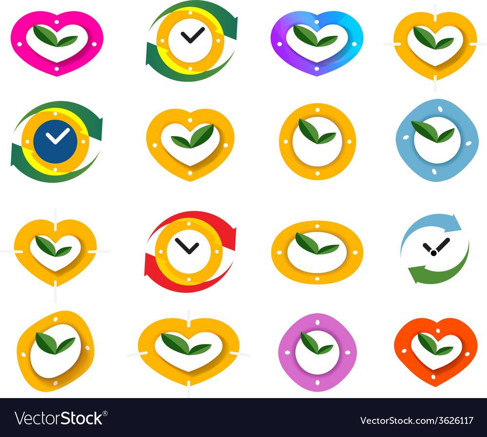Clock time icon set vector | Price: 1 Credit (USD $1)