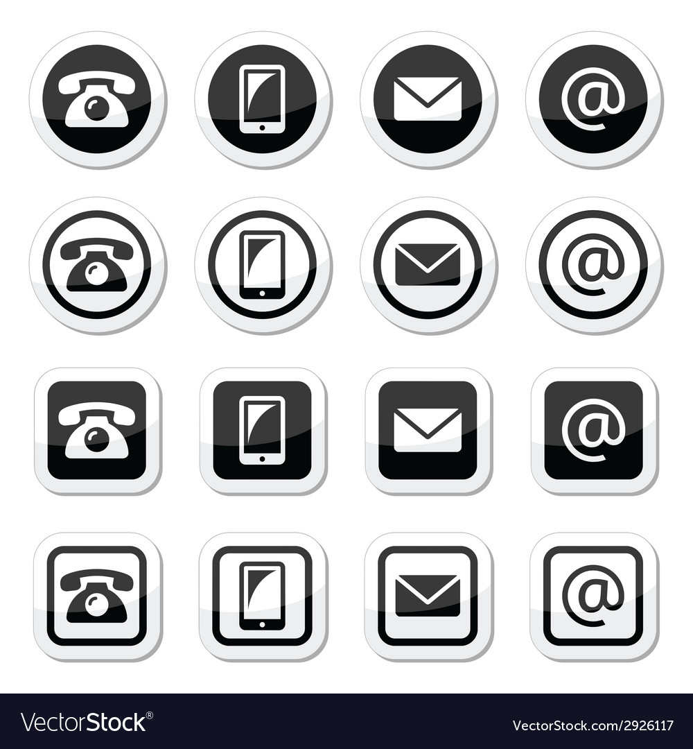 Contact icons in circle and square set - mobile p vector | Price: 1 Credit (USD $1)