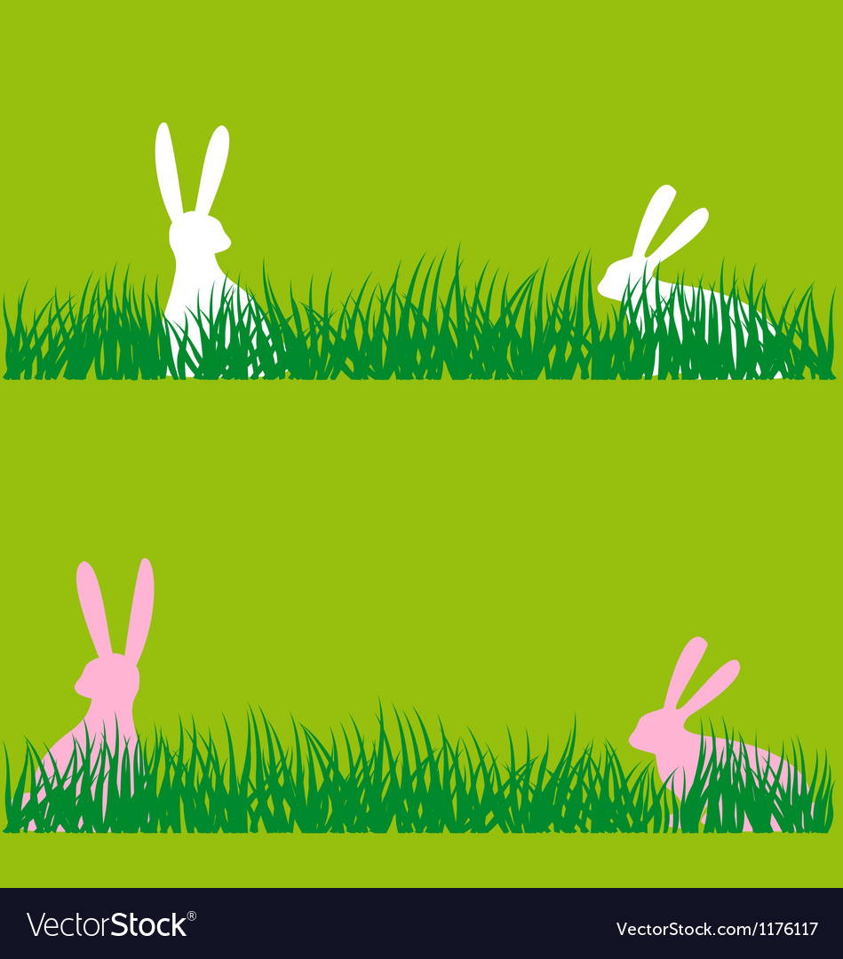 Easter bunnies in grass vector | Price: 1 Credit (USD $1)