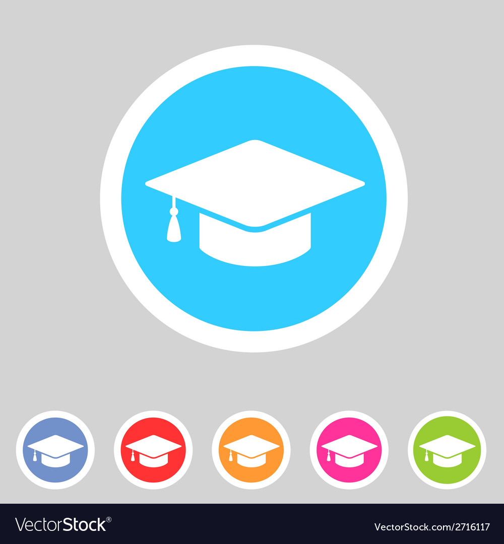 Flat graduation cap icon vector | Price: 1 Credit (USD $1)