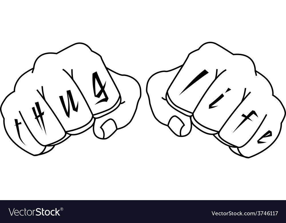 Gangster fists with thug life fingers tattoo vector | Price: 1 Credit (USD $1)