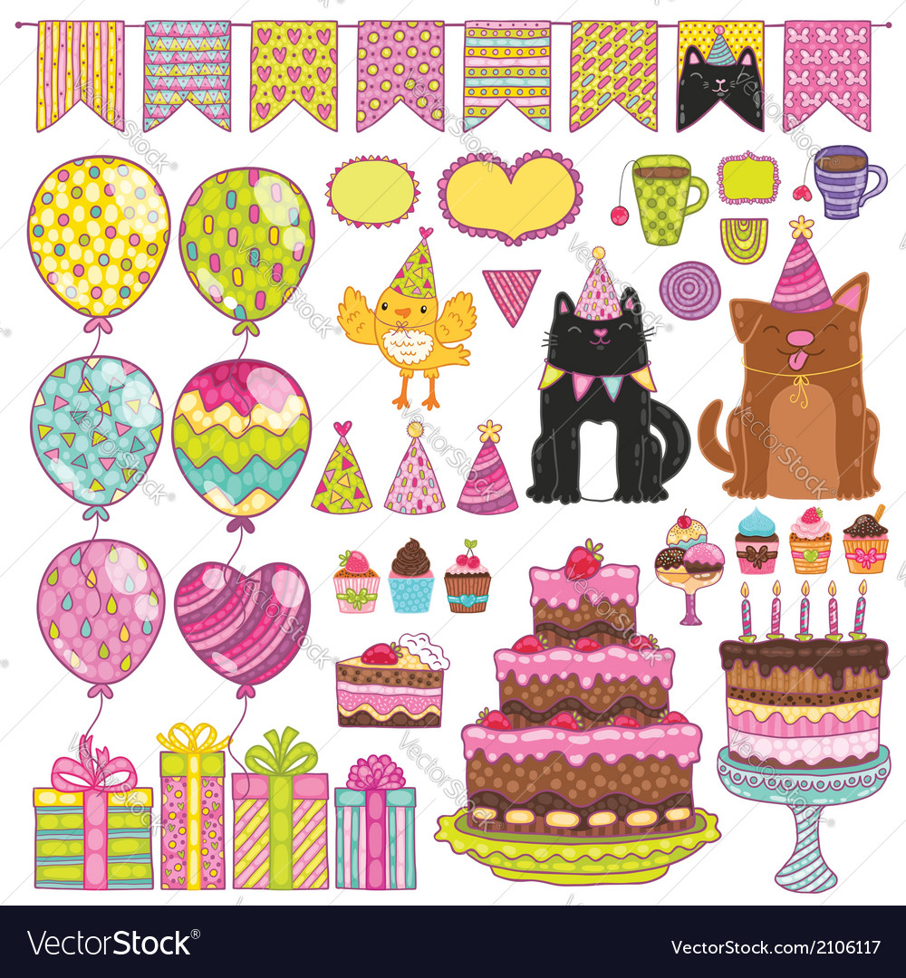 Happy birthday party elements set vector | Price: 1 Credit (USD $1)