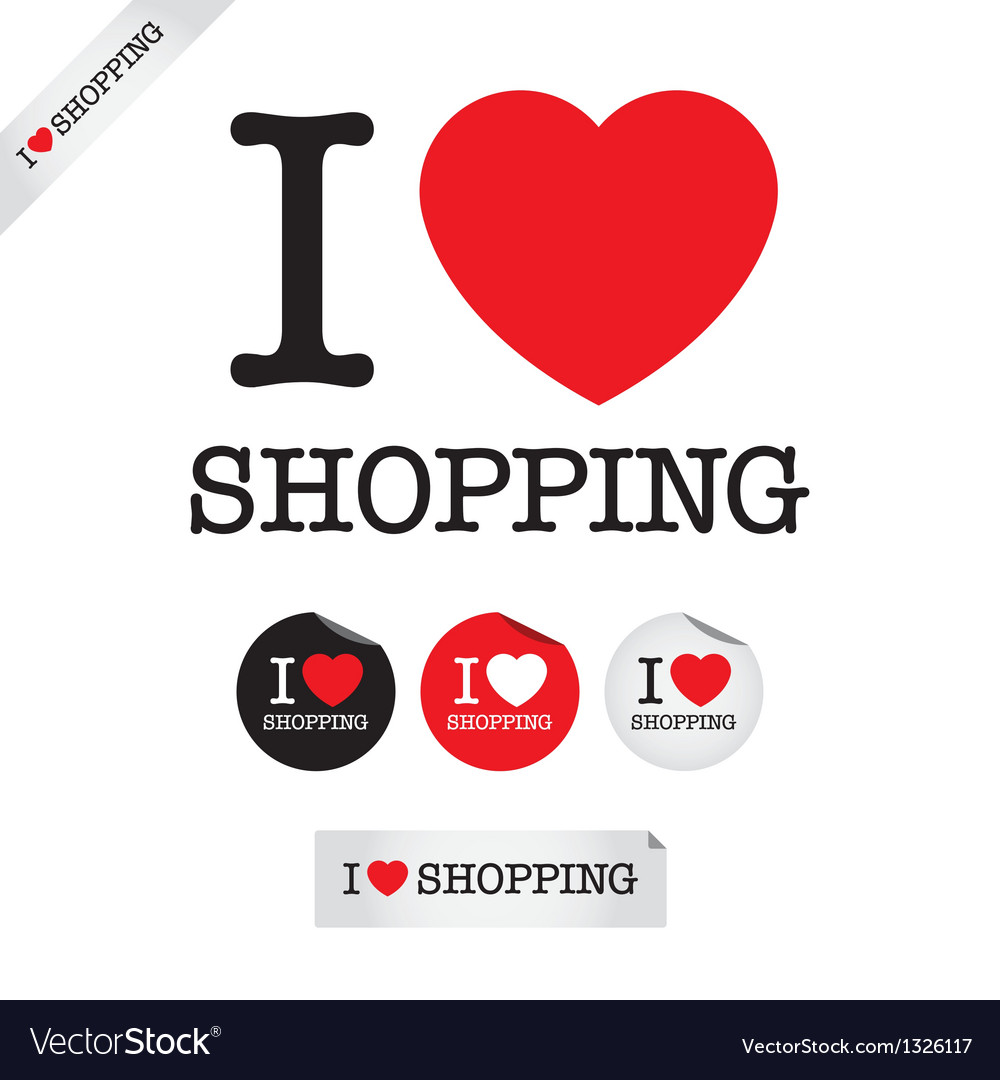 I love shopping vector | Price: 1 Credit (USD $1)