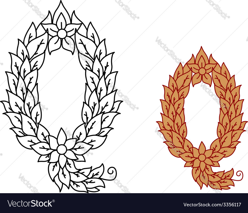 Letter q in a foliate font vector | Price: 1 Credit (USD $1)