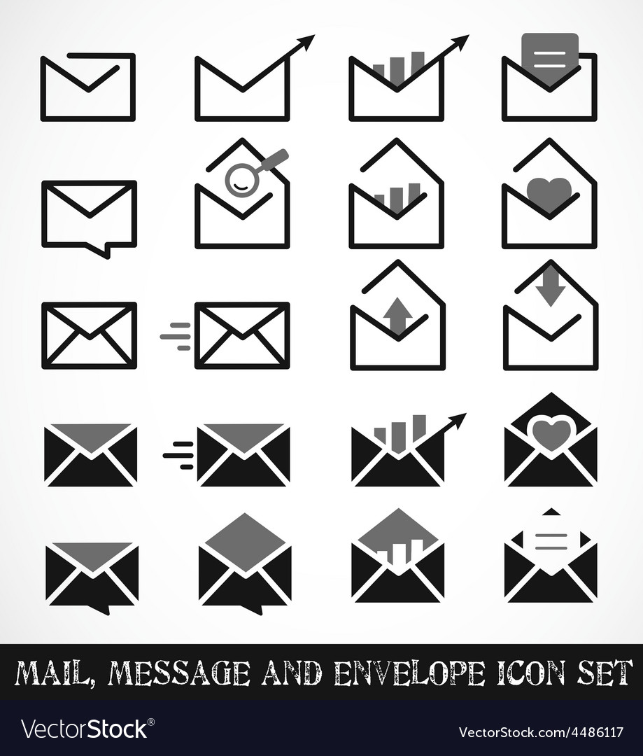 Mail message and envelope icon set vector | Price: 1 Credit (USD $1)