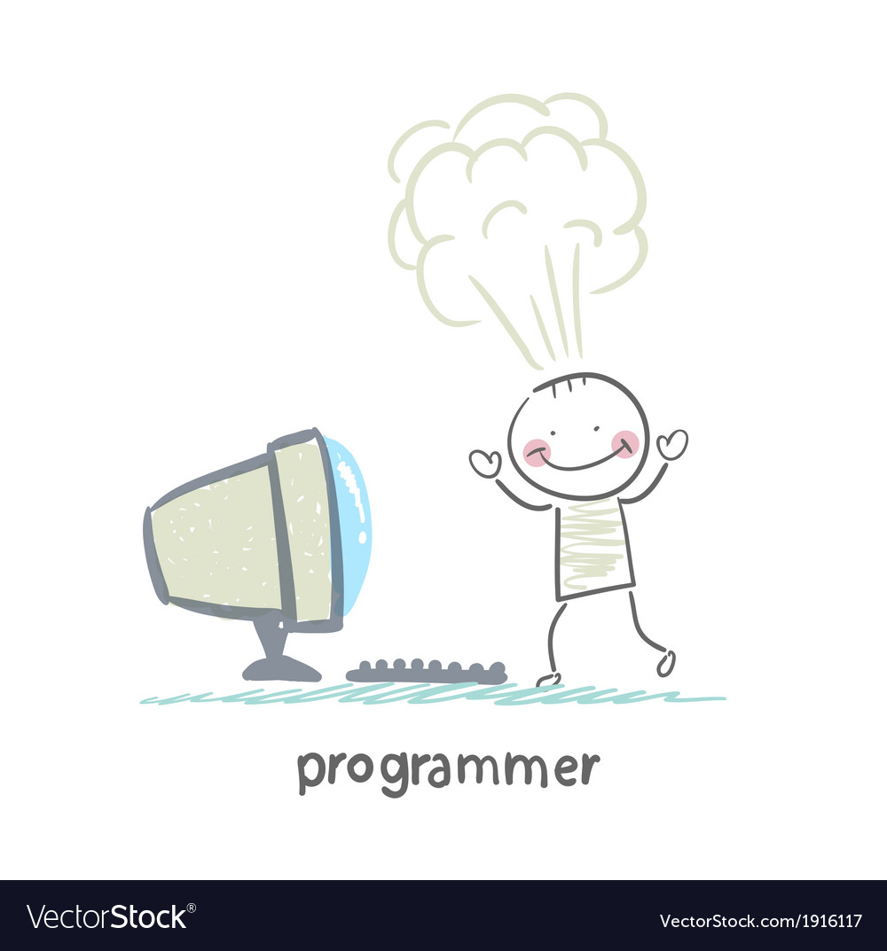 Programmer stands next to the computer and vector | Price: 1 Credit (USD $1)