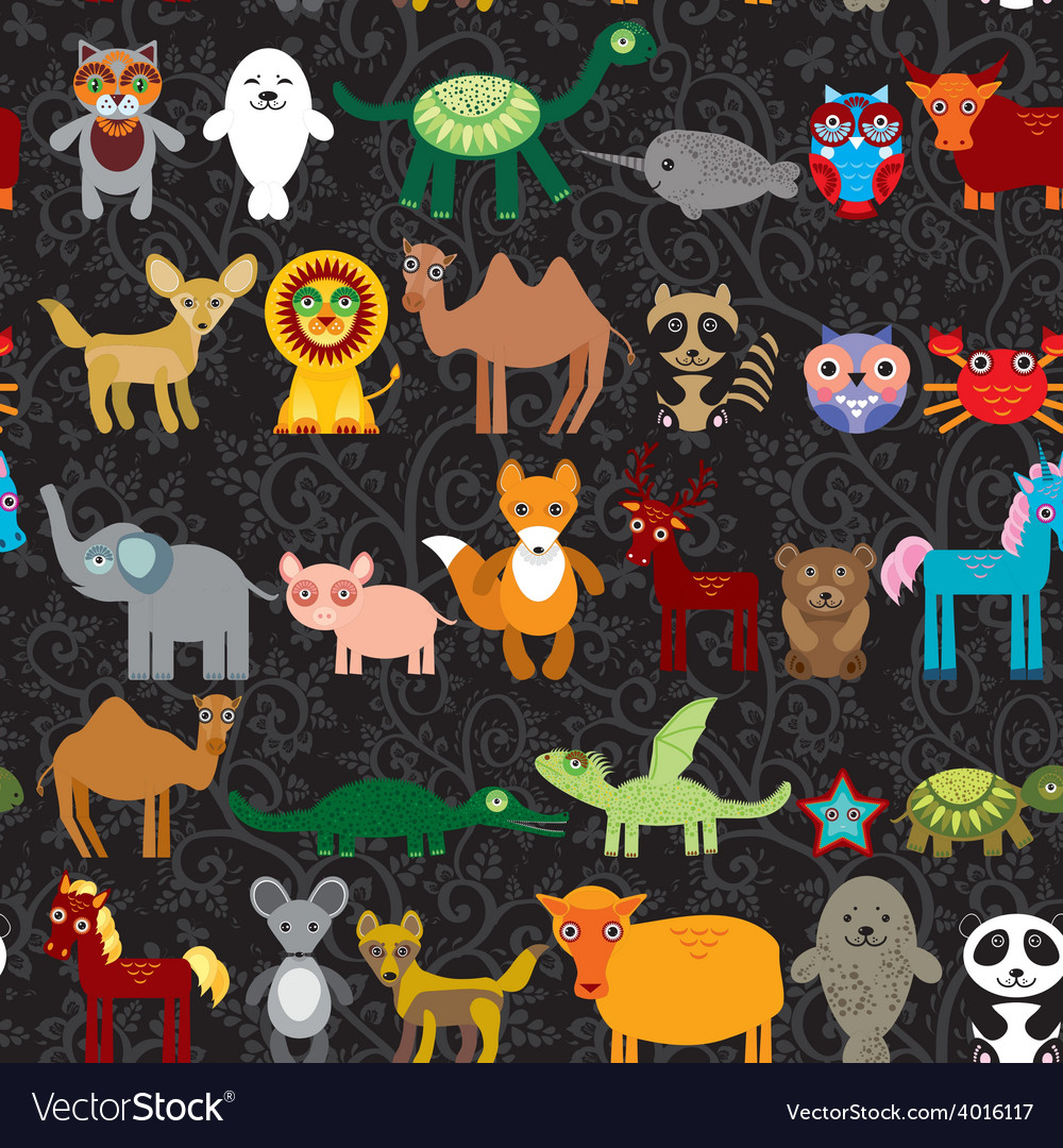 Set of funny cartoon animals character on black vector | Price: 1 Credit (USD $1)