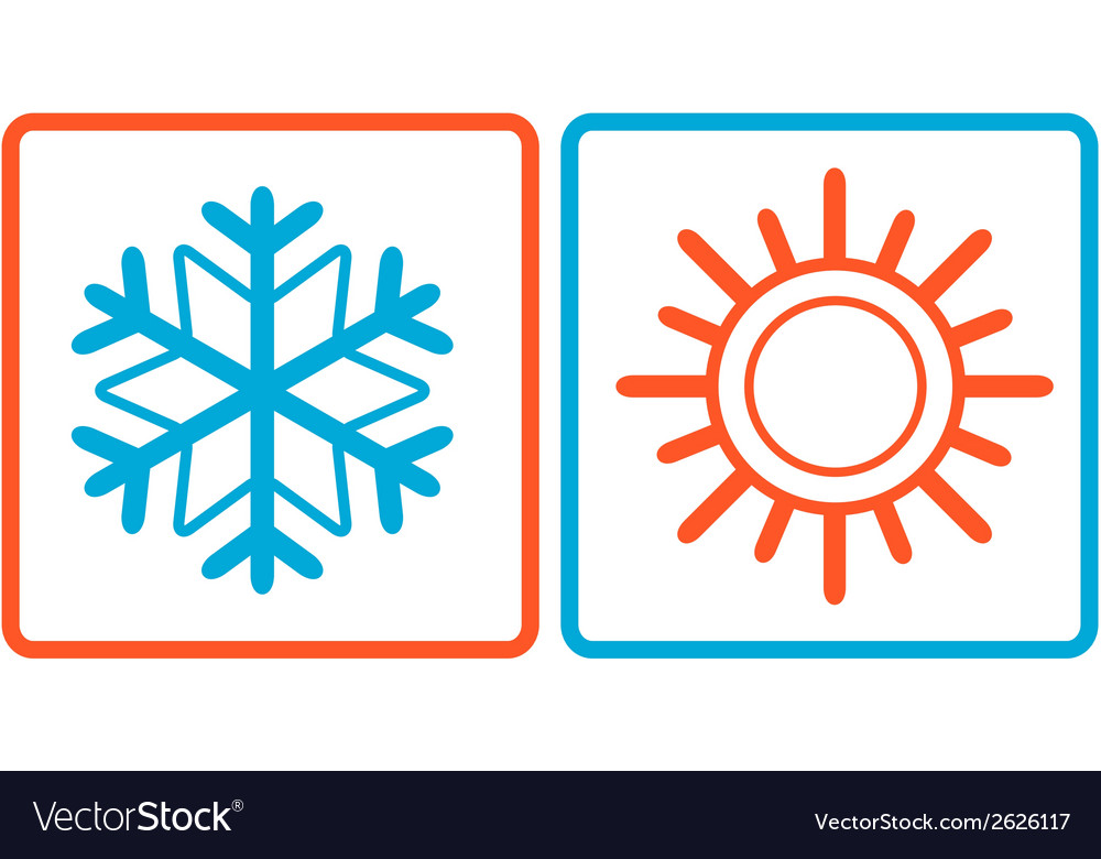 Snowflake and sun icons vector | Price: 1 Credit (USD $1)