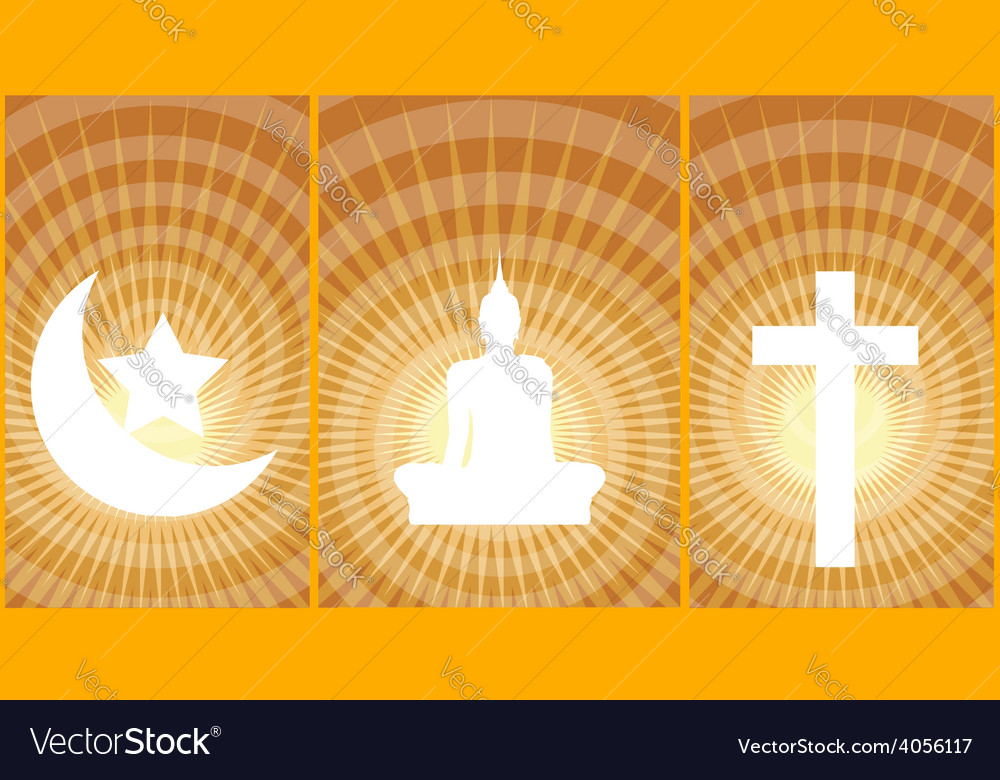 Three great religions buddhism christianity islam vector | Price: 1 Credit (USD $1)