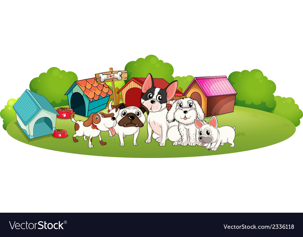 A group of dogs outside their houses vector | Price: 3 Credit (USD $3)