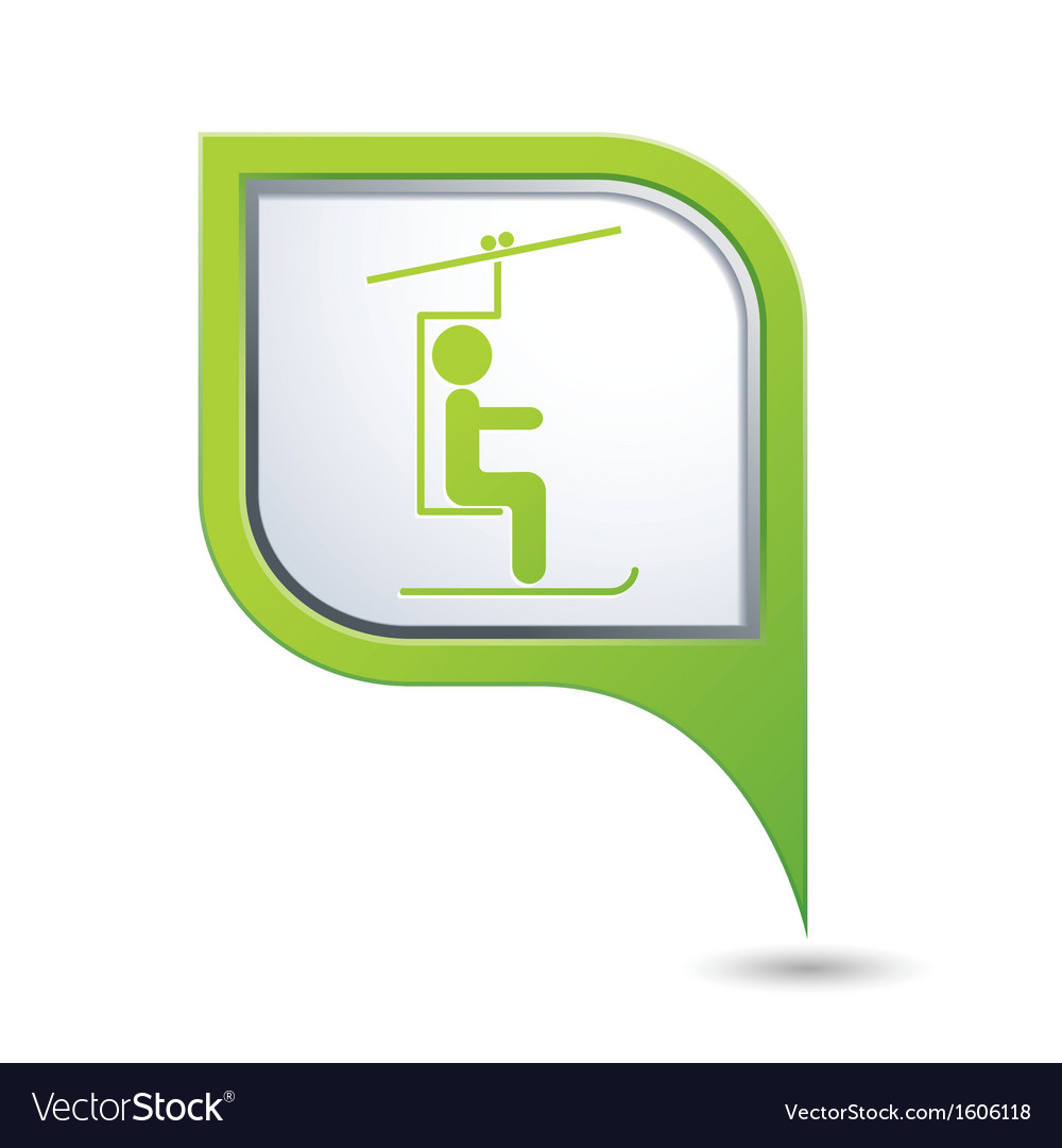 Chair lift icon green map pointer vector | Price: 1 Credit (USD $1)