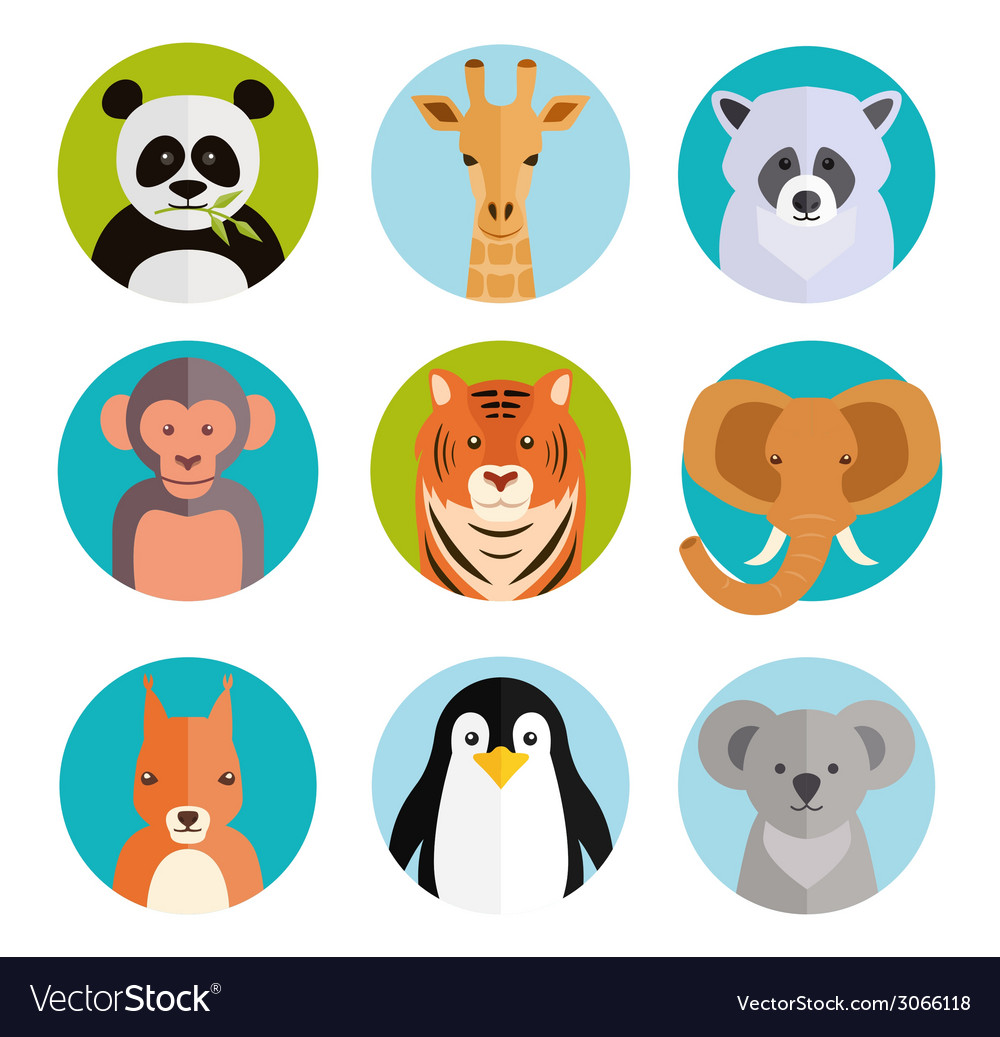 Cute animals in colored round badges vector