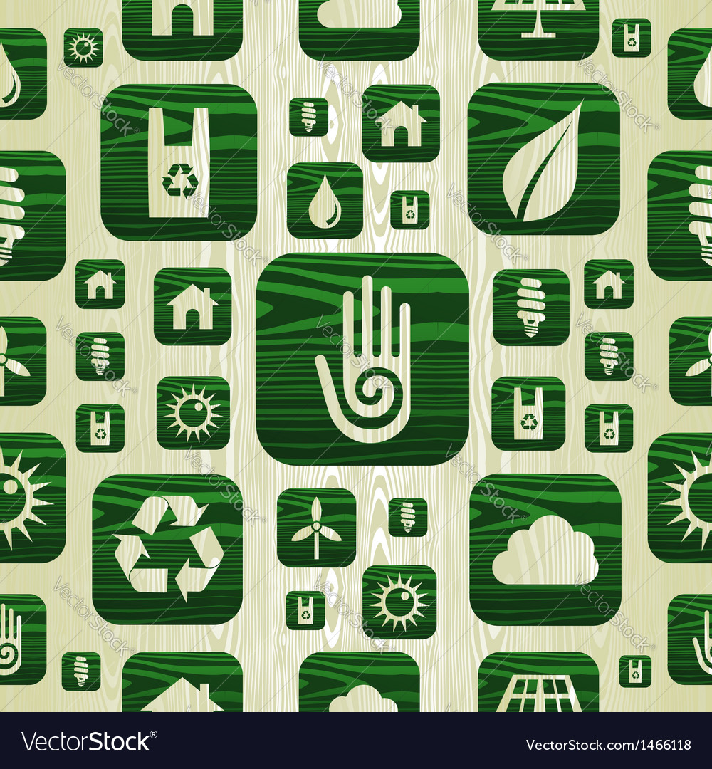 Environmental green icons pattern in organic wood vector   Price: 1 Credit (USD $1)
