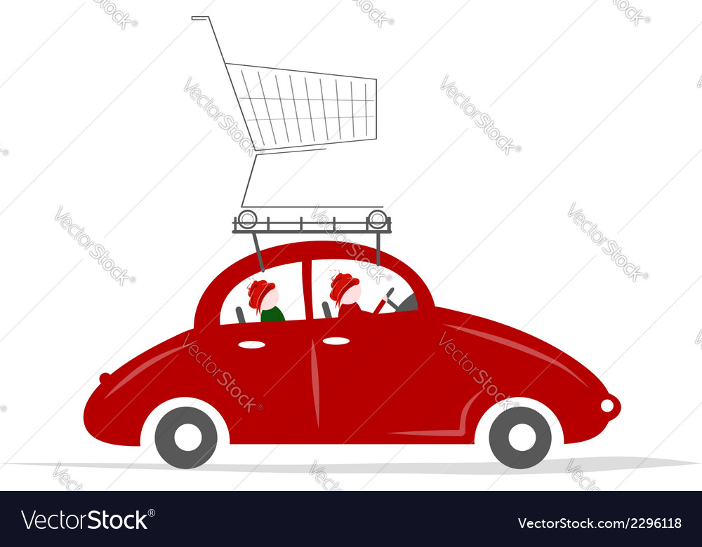 Family traveling by red car with trolley vector | Price: 1 Credit (USD $1)