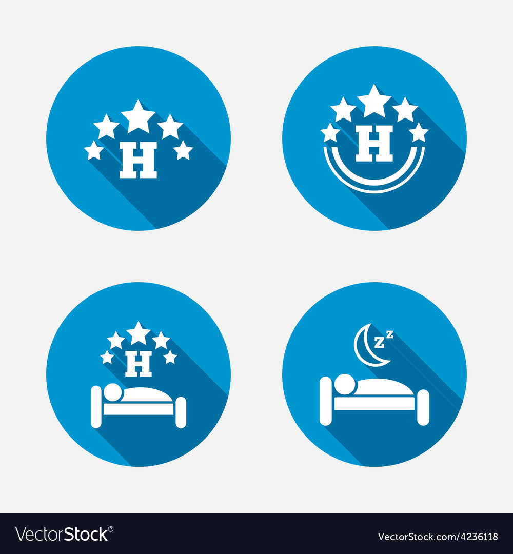 Five stars hotel icons travel rest place vector | Price: 1 Credit (USD $1)