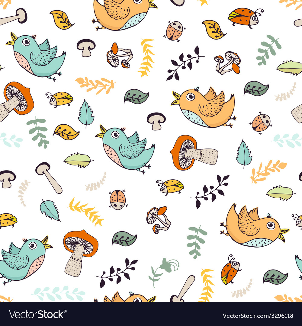 Forest seamless pattern vector | Price: 1 Credit (USD $1)