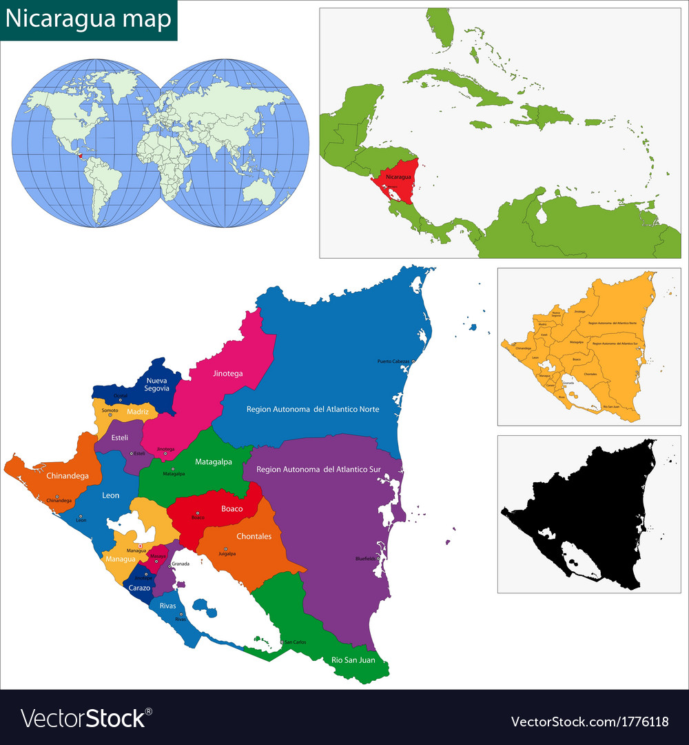 Nicaragua map vector | Price: 1 Credit (USD $1)