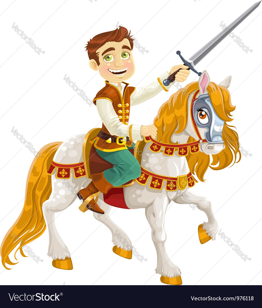 Prince charming on a white horse ready for feats vector | Price: 5 Credit (USD $5)