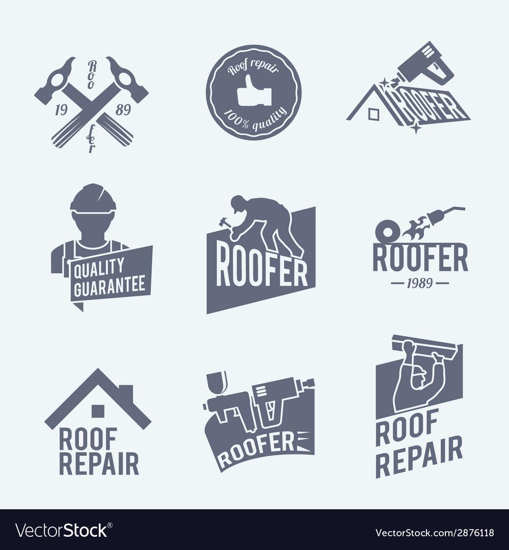 Roofer label set grey vector | Price: 1 Credit (USD $1)