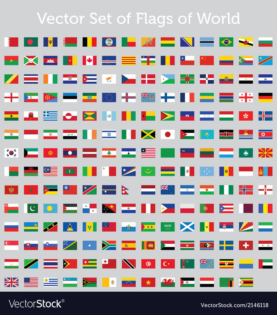 Set of flags of world vector | Price: 1 Credit (USD $1)