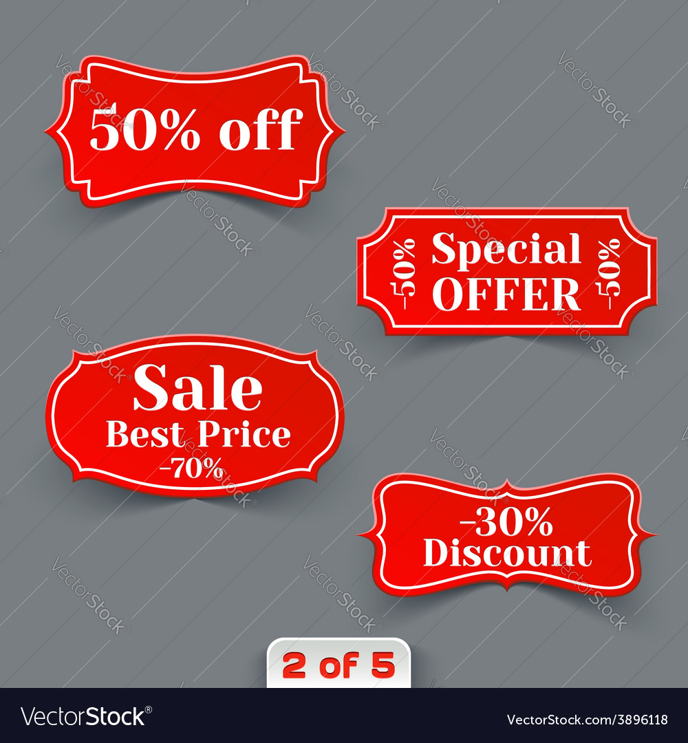 Set of red sale paper retro labels vector | Price: 1 Credit (USD $1)
