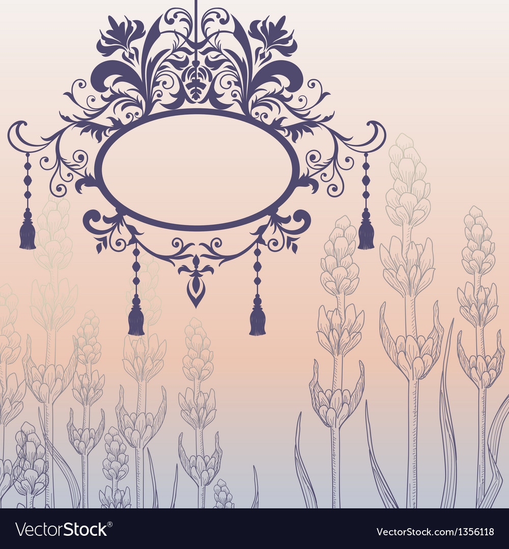 Vintage background with ornate frame and flowers vector | Price: 1 Credit (USD $1)