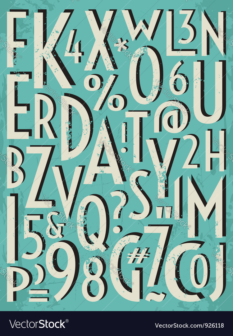 Vintage letters and numbers vector | Price: 1 Credit (USD $1)