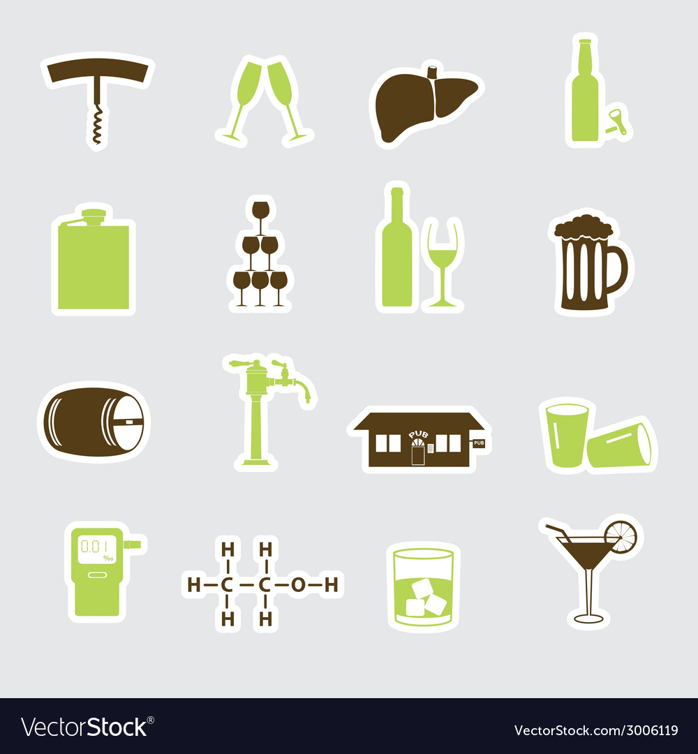 Alcohol stickers set eps10 vector | Price: 1 Credit (USD $1)