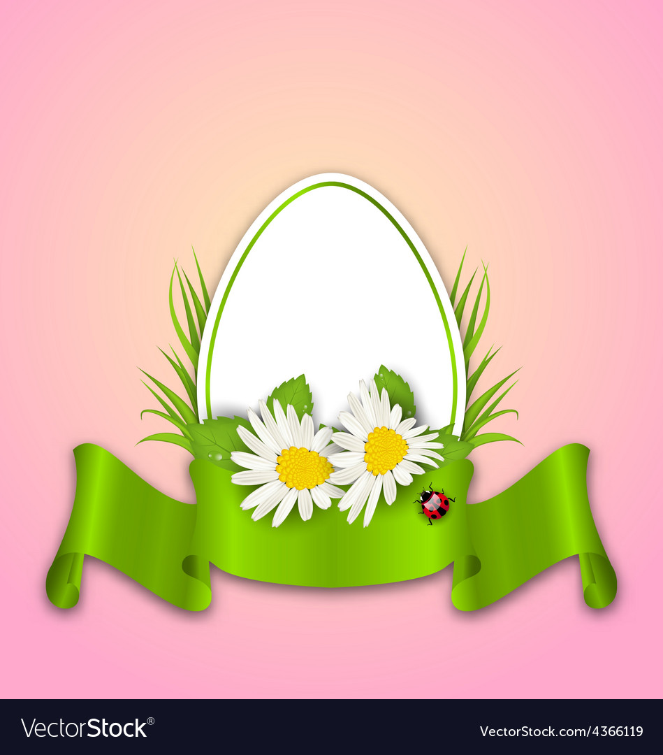 Easter paper egg with flowers daisy grass vector | Price: 1 Credit (USD $1)