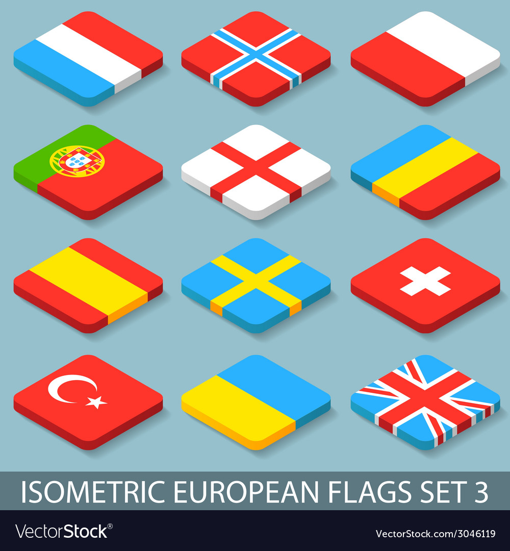 Flat isometric european flags set 3 vector | Price: 1 Credit (USD $1)