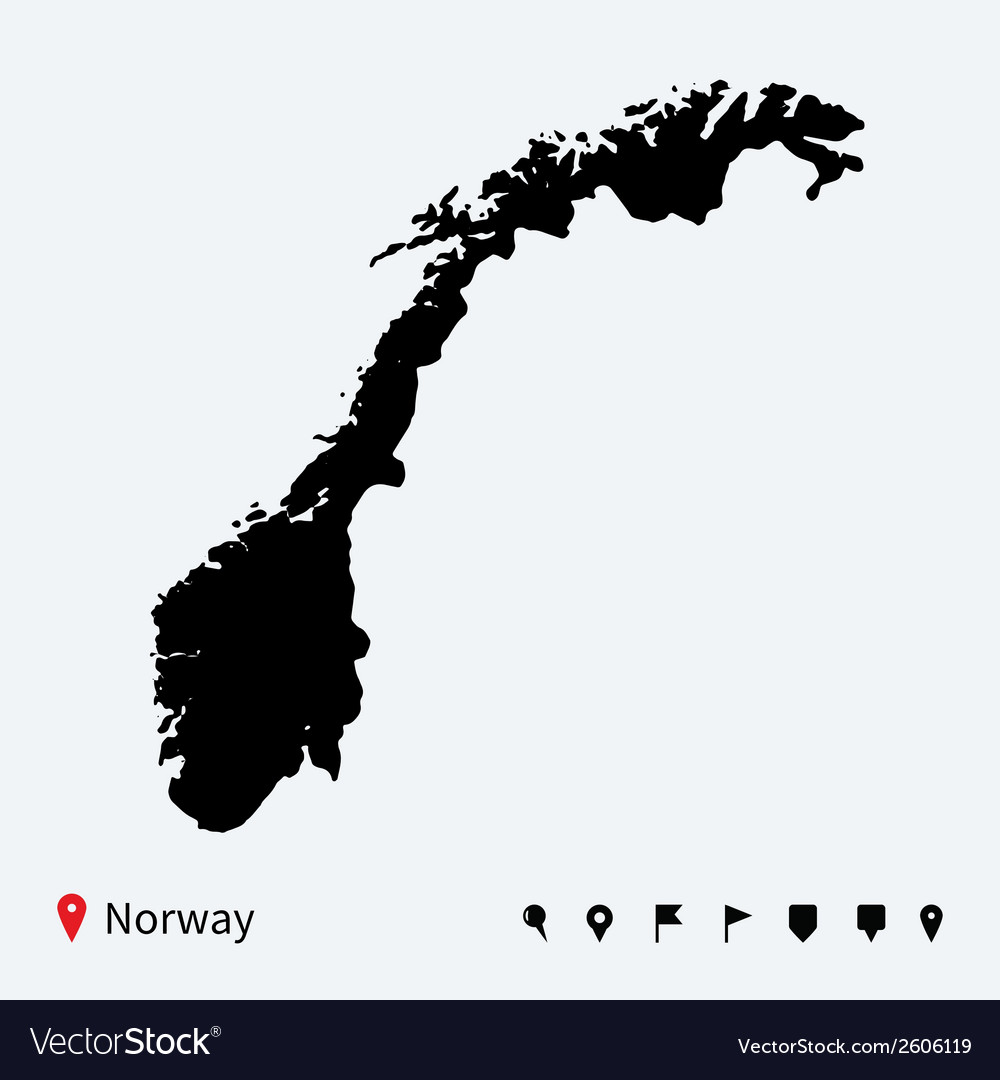 High detailed map of norway with navigation pins vector | Price: 1 Credit (USD $1)