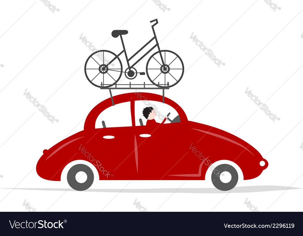 Man driving red car with bike on the roof rack vector | Price: 1 Credit (USD $1)