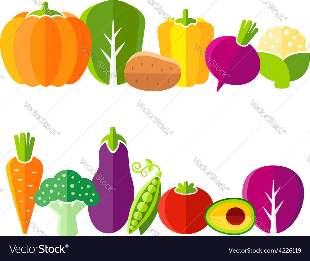 Organic farm vegetables in flat style vector | Price: 1 Credit (USD $1)