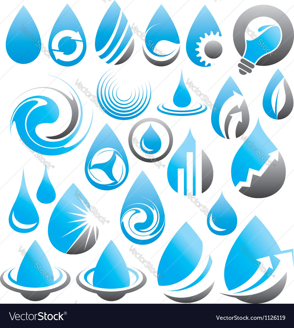 Set of water drop icons symbols signs and logos vector | Price: 1 Credit (USD $1)
