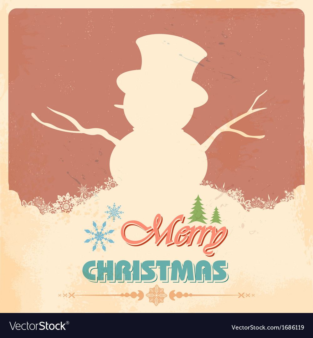 Snowman in merry christmas vector | Price: 1 Credit (USD $1)