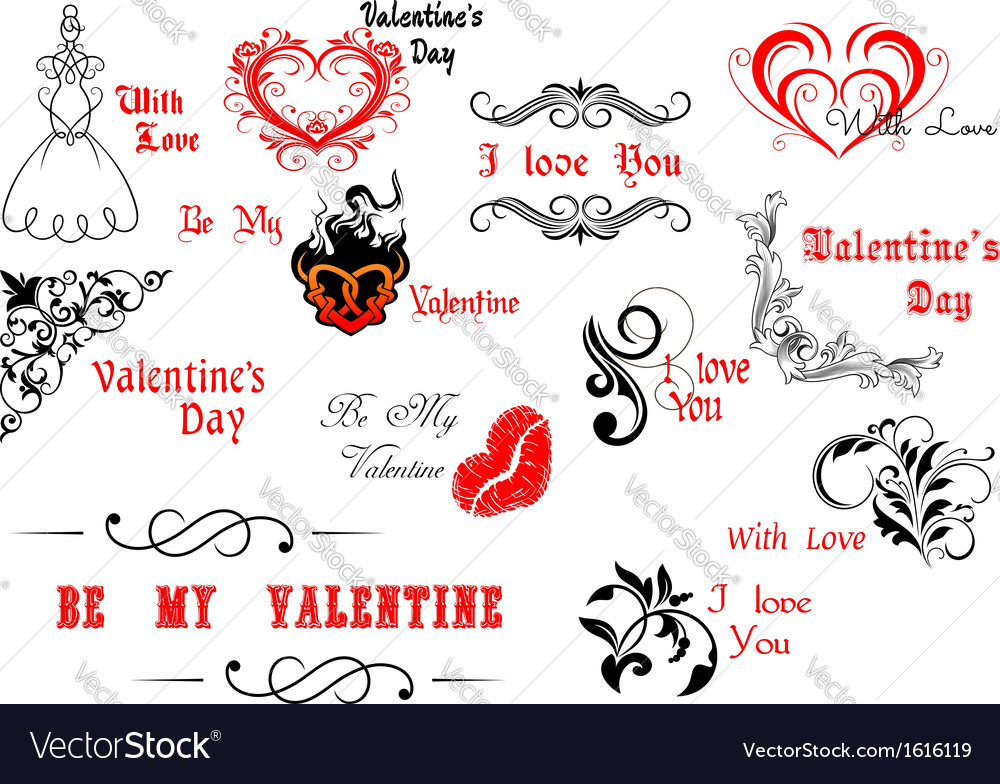 Valentines day calligraphic and decorative vector | Price: 1 Credit (USD $1)