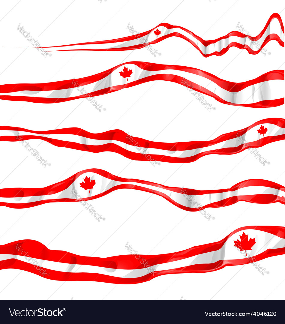 Canada flag set isolated on white vector | Price: 1 Credit (USD $1)