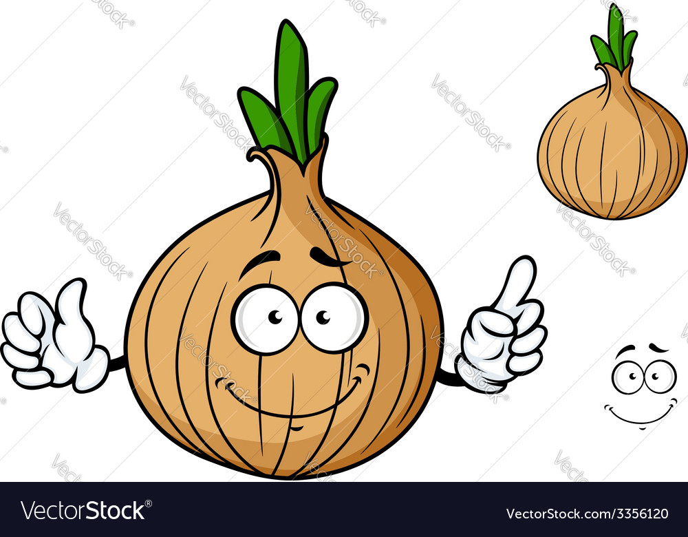 Cartoon onion vegetable character vector | Price: 1 Credit (USD $1)