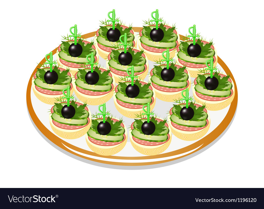 Cucumber sandwiches with sausage and olives on a p vector | Price: 1 Credit (USD $1)