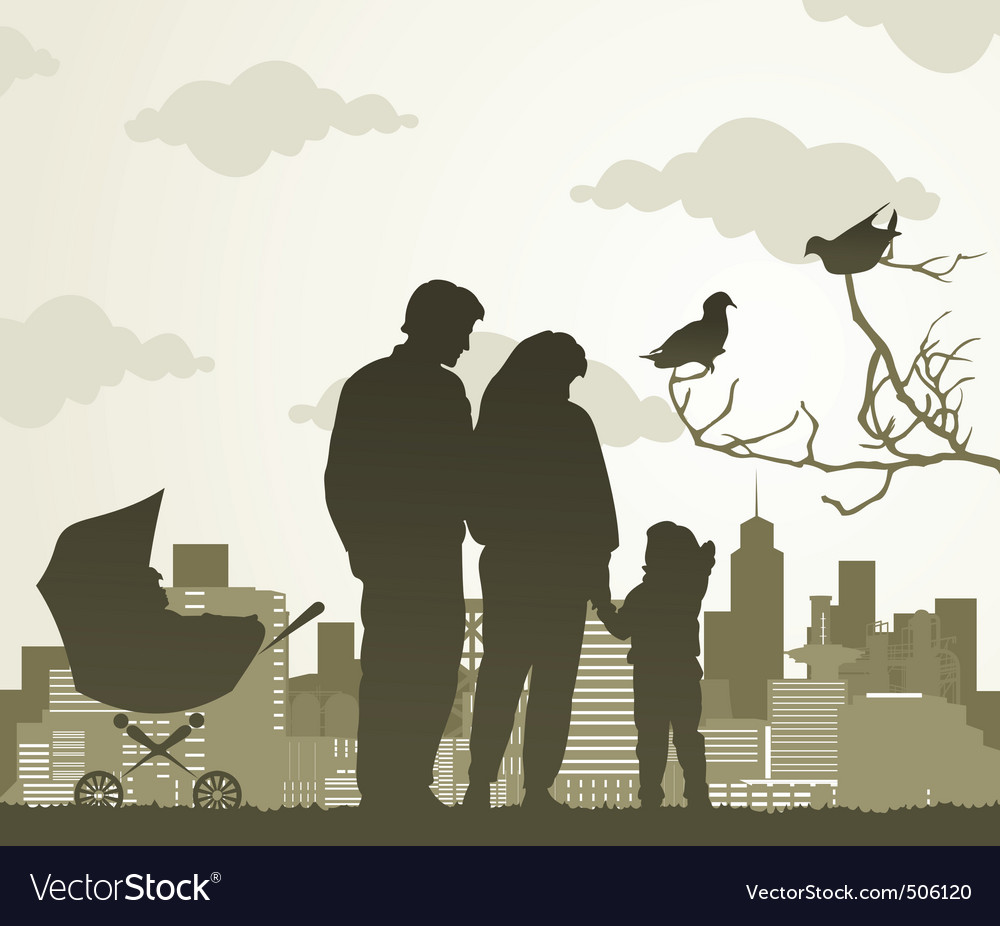 Family walk vector | Price: 1 Credit (USD $1)
