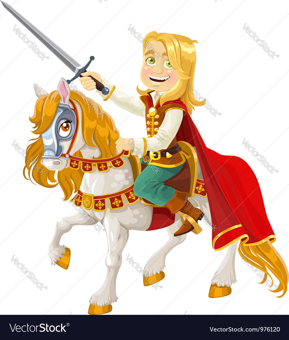 Prince charming on a white horse vector | Price: 5 Credit (USD $5)