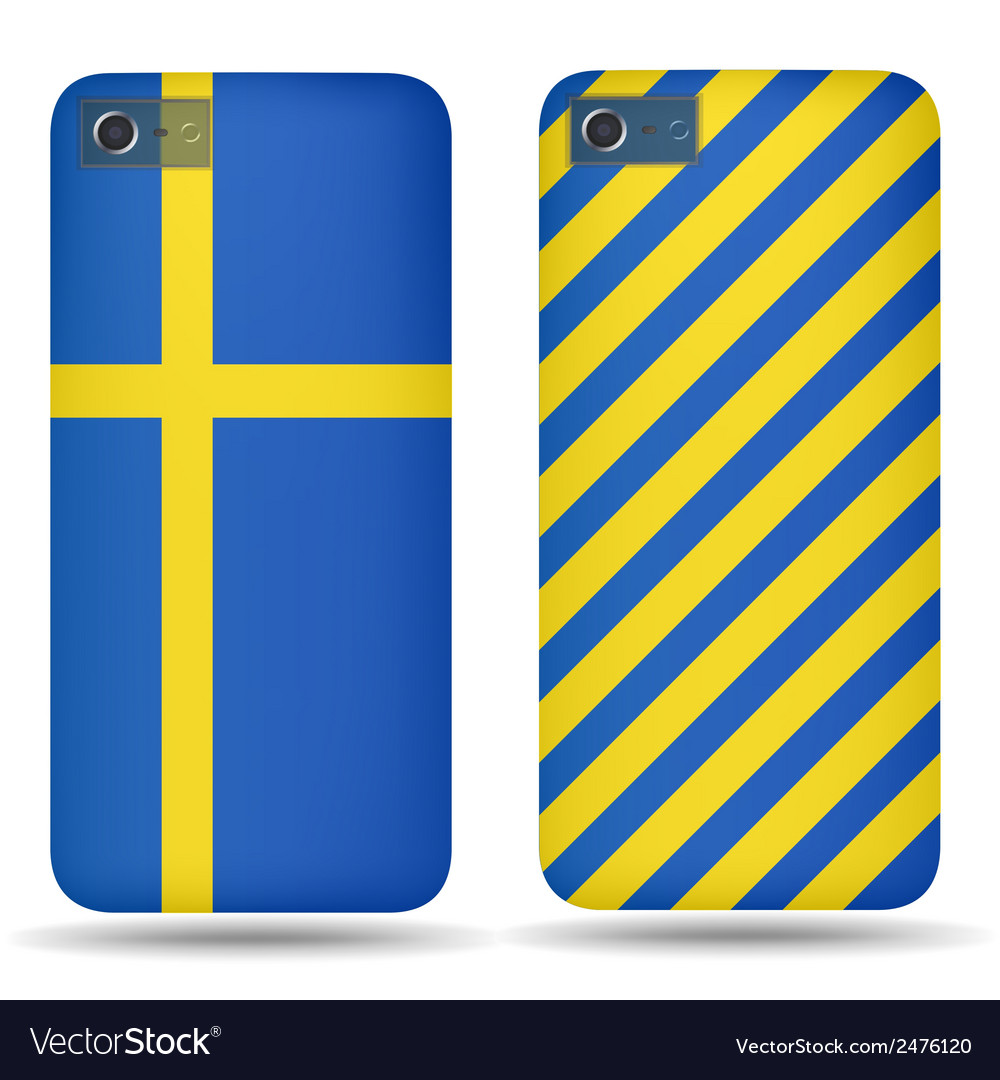 Rear covers smartphone with flags of sweden vector | Price: 1 Credit (USD $1)